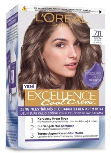 L'Oréal Paris Excellence Cool Creme 7.11 Numara Saç Boyası + ŞPampuan + Maske Renkli